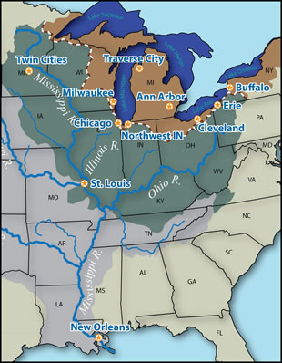 Map of meeting locations: Chicago, Milwaukee, Cleveland, Ann Arbor, Traverse City, Erie, Twin Cities, St. Louis, New Orleans, Northwest IN, Buffalo
