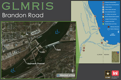 Map showing GLMRIS - Brandon Road Study Area